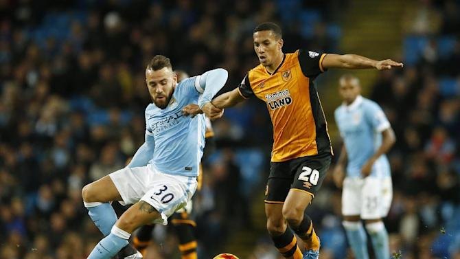 Manchester City's Nicolas Otamendi in action with Hull City's Isaac Hayden