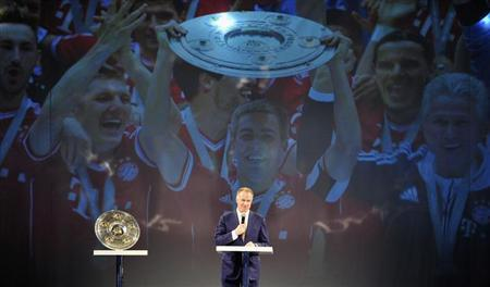 Rummenigge CEO of Bayern Munich speaks during Official Champion dinner after winning the German championship in Munich