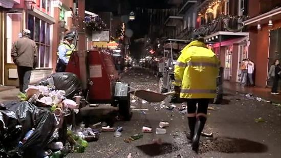 Raw Video: Cleaning the streets after Mardi Gras