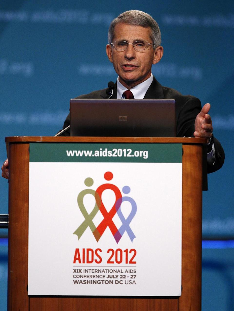 Anthony Fauci of the National Institute of Allergy and Infectious Diseases speaks at the XIX International Aids Conference, Monday, July 23, 2012, in Washington. (AP Photo/Carolyn Kaster)