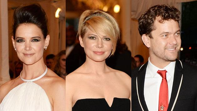 "Katie Holmes, Michelle Williams and Joshua Jackson attend the Costume Institute Gala for the ""PUNK: Chaos to Couture"" exhibition at the Metropolitan Museum of Art on May 6, 2013 in New York City."