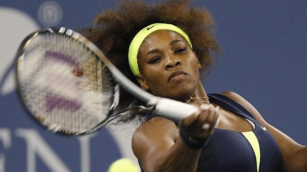Serena Williams plays a forehand in the opening round of the US Open (Reuters)