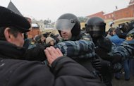 Russian police clash with protesters in Moscow. Thousands of Russians linked hands around Moscow on Sunday in a protest against Prime Minister Vladimir Putin&#39;s expected return to the Kremlin for a third term in elections next weekend