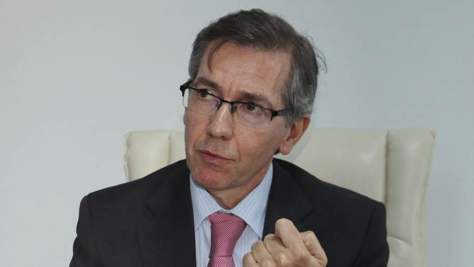 U.N. Special Envoy to Libya Bernandino Leon speaks during an interview with Reuters in Tunisia