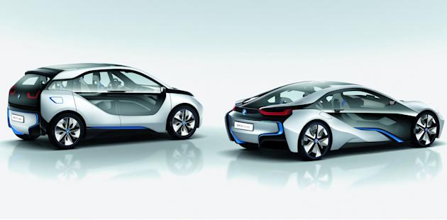 In this image provided by BMW, form left, BMW i3 Concept and BMW i8 Concept are shown.    BMW is showing off a pair of new hybrid and electric concept cars expected to reach dealer showrooms in the ne
