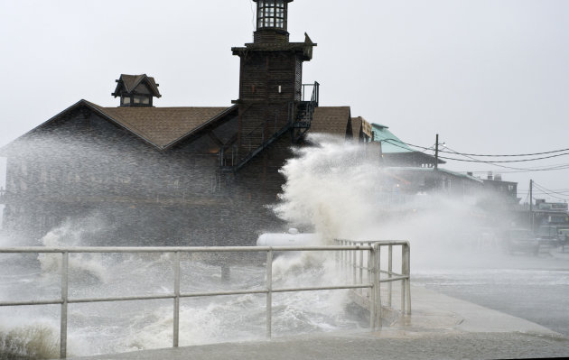 High winds, high tide strike at the main street of Cedar Key, Fla., as Tropical Storm Debby makes it's way across the Gulf of Mexico early Sunday, June 24, 2012. Parts of Florida, including the Panhan