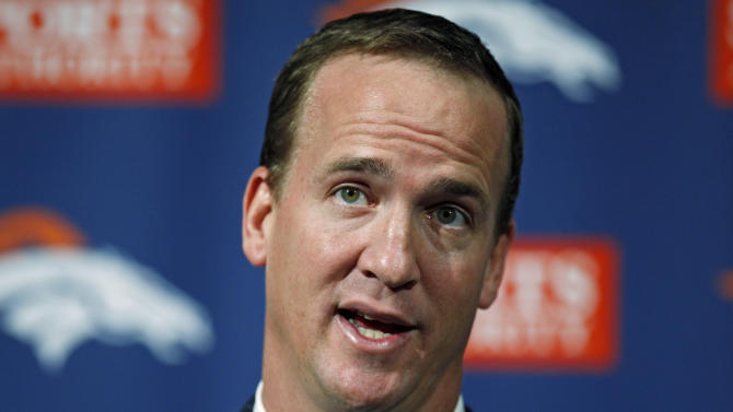 New Denver Broncos quarterback Peyton Manning speaks during a news conference at the NFL teams headquarters in Englewood, Colo.,  on Tuesday, March 20, 2012.  (AP Photo/Ed Andrieski)