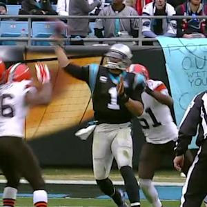 Carolina Panthers quarterback Cam Newton throws 37-yard completion