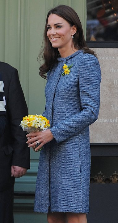 Kate wears a blue coat dress by M Missoni at the unveiling of a plaque at Fortnum & Mason during the Queen's Diamond Jubilee year to commemorate the restoration of Piccadilly, before heading inside fo
