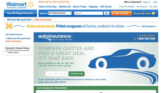 Wal-Mart brings one-stop shopping to car insurance