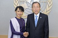 In this photo released by the United Nations, UN Secretary-General Ban Ki-moon meets with Myanmar democracy icon Aung San Suu Kyi, on September 21, at the UN Headquarters in New York.