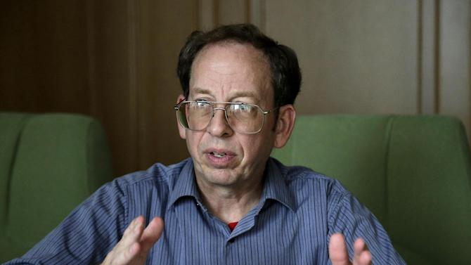 In this Sept. 1, 2014, file photo, Jeffrey Fowle, an American detained in North Korea speaks to the Associated Press in Pyongyang, North Korea. Fowle, one of three Americans being held in North Korea, has been released, the State Department said Tuesday, Oct. 21, 2014. State Department deputy spokeswoman Marie Harf said the U.S. is still trying to free Americans Matthew Miller and Kenneth Bae. (AP Photo/Wong Maye-E, File)