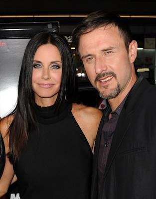 "Courteney Cox and David Arquette are all smiles at the premiere of ""Scream 4"" held at Grauman's Chinese Theatre in Hollywood, Calif. on April 11, 2011  -- Getty Images"