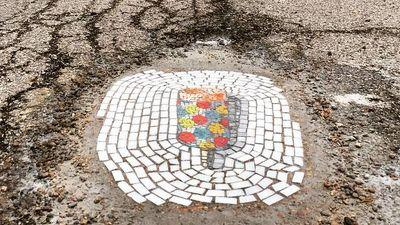 This Artist Patches Potholes With Beautiful Ice Cream Mosaics