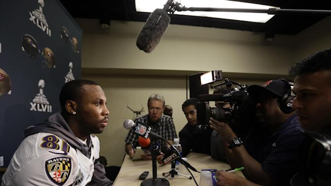 Baltimore Ravens wide receiver Anquan Boldin speaks at an NFL Super Bowl XLVII football news conference on Wednesday, Jan. 30, 2013, in New Orleans. The Ravens face the San Francisco 49ers in Super Bowl XLVII on Sunday, Feb. 3. (AP Photo/Patrick Semansky)