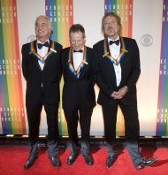 2012 Kennedy Center Honorees and members of the band Led Zeppelin, from left, Jimmy Page, John Paul Jones, and Robert Plant arrive at the Kennedy Center for the Performing Arts for the 2012 Kennedy Center Honors Performance and Gala Sunday, Dec. 2, 2012 at the State Department in Washington. (AP Photo/Kevin Wolf)