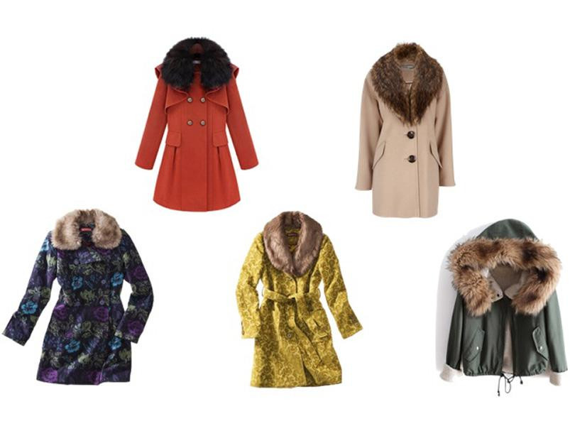 A faux-fur collar draws attention upwards towards your gorgeous face and away from your problem areas. From left: Target, $80; Udobuy.com, $199; Target, $80; Wallsfashion.com, $84; Sheinside.com, $50.