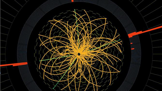 """FILE - This 2011 image provide by CERN, shows a real CMS proton-proton collision in which four high energy electrons (green lines and red towers) are observed in a 2011 event. The event shows characteristics expected from the decay of a Higgs boson but is also consistent with background Standard Model physics processes. Physicists in Italy said Wednesday, March 6, 2013 they are closer to concluding that what they found last year was the elusive """"God particle."""" But they still haven't reached that """"Eureka moment"""" when they can announce the Higgs boson is found. The long theorized subatomic particle would explain why matter has mass and has been called a missing cornerstone of physics. (AP Photo/CERN)"""