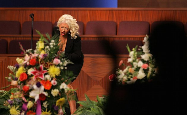 Christina Aguilera performs at the funeral of singer Etta James, Saturday, Jan. 28, 2012, at Greater Bethany Community Church City of Refuge in Gardena, Calif. James died last Friday at age 73 after b