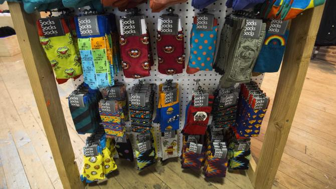 Socks are for sale at an Urban Outfitters store in Pasadena, California