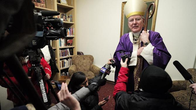 File - In this Dec. 15, 2013 file photo Archbishop John Nienstedt, head of the Archdiocese of St. Paul and Minneapolis, talks to the media at Our Lady of Grace Church in Edina, Minn. Nienstedt, in a letter posted Tuesday, Dec. 17, 2013 on the archdiocese website, says he is stepping aside from public ministry after an allegation that he touched an underage male. Nienstedt denies the allegations, but is removing himself from ministry pending an investigation. (AP Photo/The Star Tribune, Richard Tsong-Taatarii, File) MANDATORY CREDIT; ST. PAUL PIONEER PRESS OUT; MAGS OUT; TWIN CITIES TV OUT