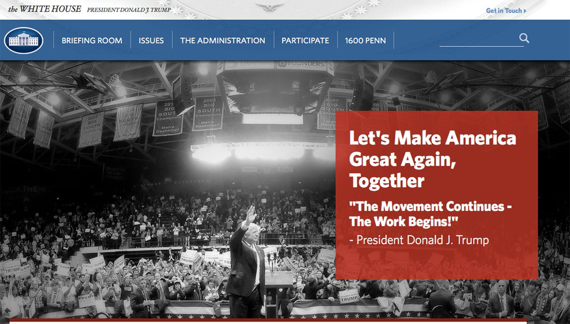 Trump's White House Website Takes Down Official Pages on Civil Rights, Climate Change, LGBT Rights