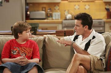 "Angus T. Young and Charlie Sheen CBS' ""Two and a Half Men"""