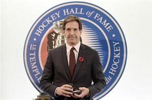 Former Devils player Brendan Shanahan poses for a picture after being inducted into the Hockey Hall of Fame in Toronto