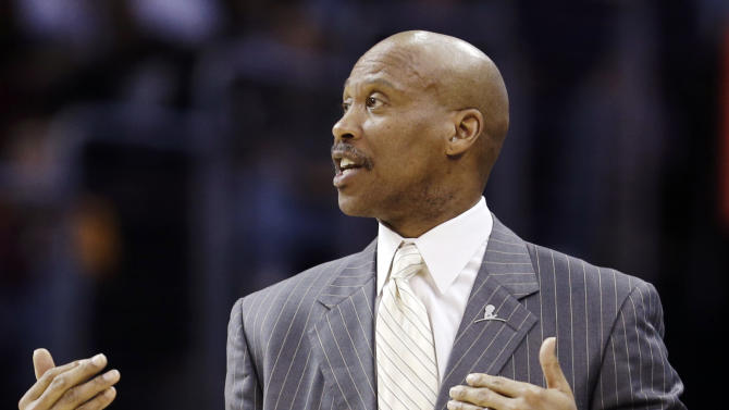 FILe - In this March 4, 2013 file photo, Cleveland Cavaliers head coach Byron Scott reacts in the fourth quarter of an NBA basketball game against the New York Knicks in Cleveland. The Cavaliers have fired coach Byron Scott after three losing seasons. (AP Photo/Tony Dejak, FIle)