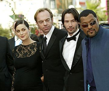 Carrie Anne Moss, Hugo Weaving, Keanu Reeves and Laurence Fishburne The Matrix: Reloaded Premiere Cannes Film Festival 5/15/2003