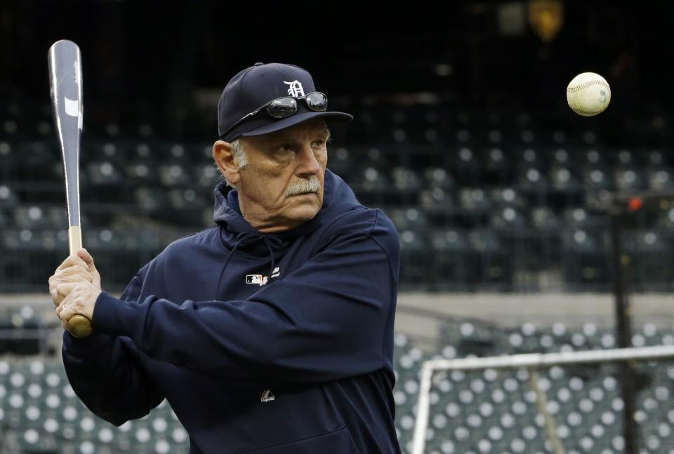 Detroit Tigers manager Jim Leyland hits balls during batting practice before Game 4 of baseball's World Series against the San Francisco Giants Sunday, Oct. 28, 2012, in Detroit. (AP Photo/David J. Phillip)