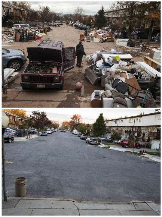 A combination photo shows a man standing next to a damaged vehicle while looking at flood damaged property thrown into the streets and a recent view of the same street in the New Dorp Beach neighborho
