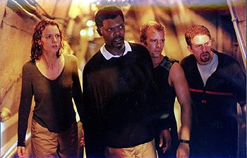 Saffron Burrows , Samuel L. Jackson , Thomas Jane and Michael Rapaport in Warner Brothers' Deep Blue Sea