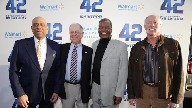 Orlando Cepeda, Pat Gillick, Dave Henderson and Goose Gossage at The Los Angeles Premiere of Warner Bros. Pictures' and Legendary Pictures' 42, on Tuesday, April, 9th, 2013 in Los Angeles. (Photo by Eric Charbonneau/Invision for Warner Bros./AP Images)