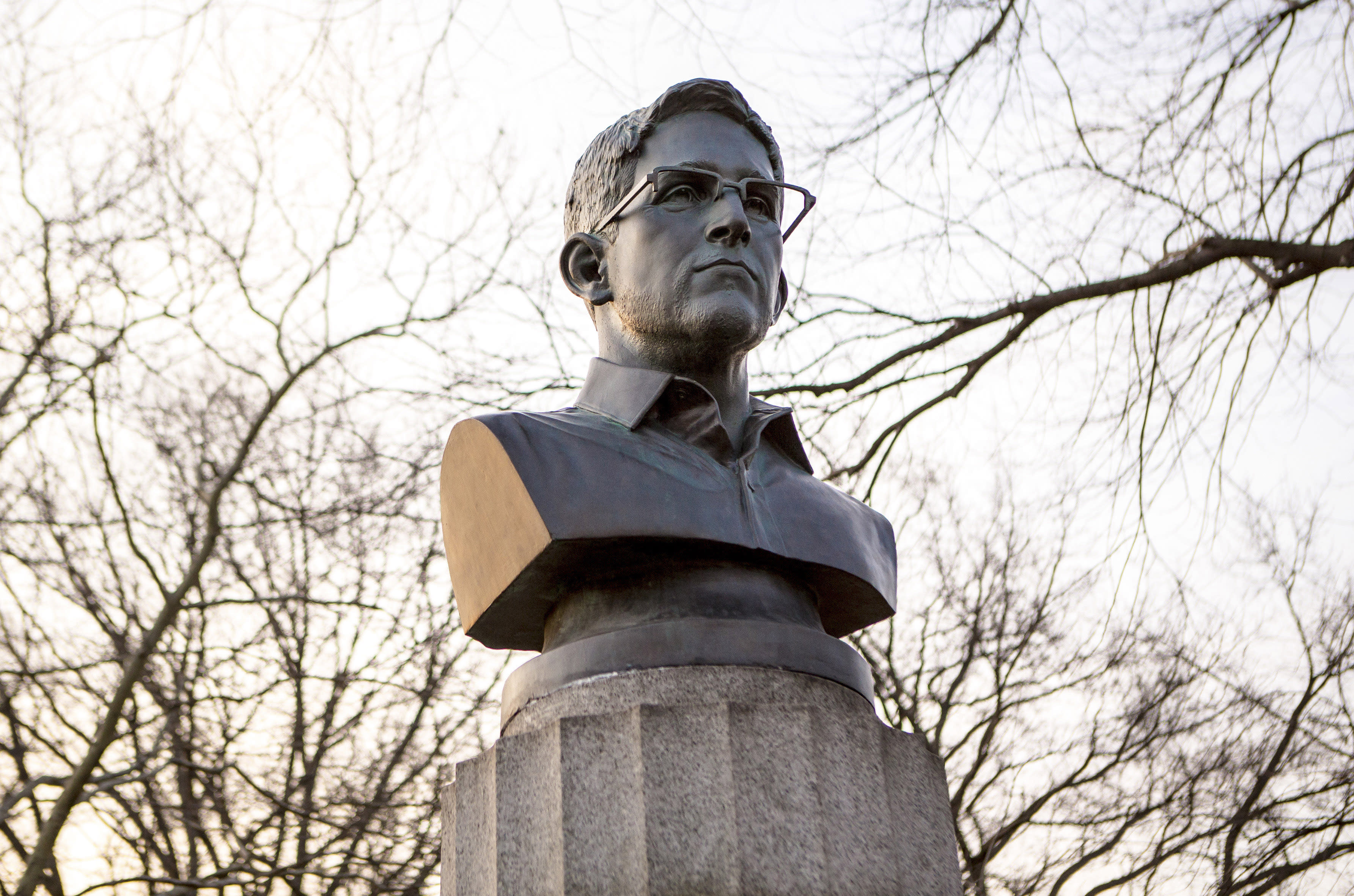 Artists who put Ed Snowden bust on NYC monument are ticketed