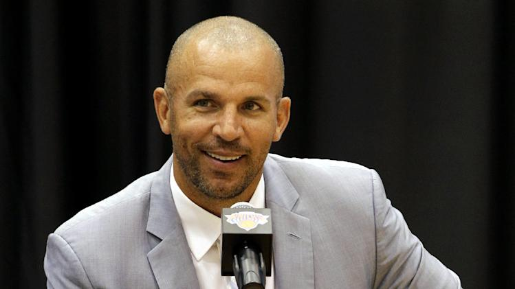 FILE - In this July 12, 2012 file photo, Jason Kidd speaks during a news conference at the New York Knicks training facility in Tarrytown, N.Y. The New York Knicks say Kidd has decided to retire from the NBA after 19 seasons.  (AP Photo/Kathy Willens, File)