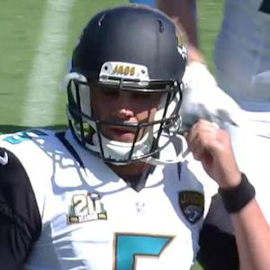 Jacksonville Jaguars quarterback Blake Bortles intercepted by Vontae Davis