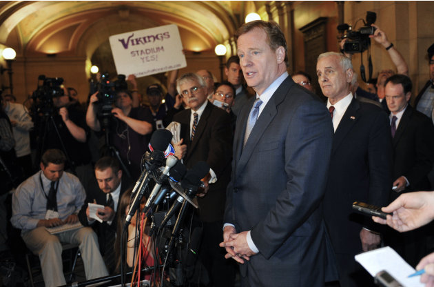 NFL  Commisioner Roger Goodell addresses a media briefing as Minnesota Gov. Mark Dayton, right, listens at the State Capitol Friday, April 20, 2012, in St. Paul, Minn., after Goodell met with the gove