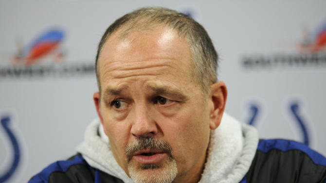 Indianapolis Colts head coach Chuck Pagano  speaks during a media availability after an NFL wild card playoff football game against the Baltimore Ravens Sunday, Jan. 6, 2013, in Baltimore. The Ravens won 24-9. (AP Photo/Nick Wass)