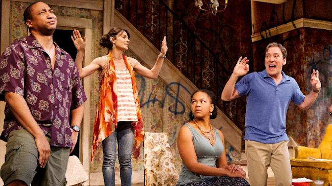 """In this theater image released by O+M Co., from left, Damon Gupton, Annie Parisse, Crystal A. Dickinson, and Jeremy Shamos are shown in a scene from """"Clybourne Park,"""" at the Walter Kerr Theatre, in New York.  The production was nominated for a Tony Award for best play Tuesday, May 1, 2012. (AP Photo/The O+M Co., Nathan Johnson Photography)"""