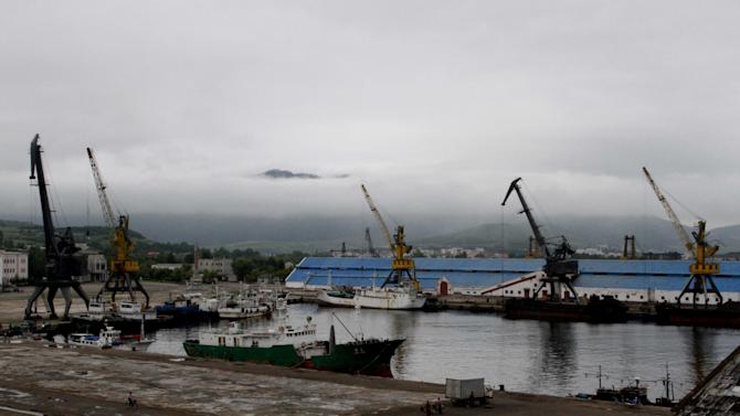 In this Monday, Aug 20, 2012 photo, piers no. 1 and 2 of Rajin port are under construction in Rason, North Korea. The port of Rajin and the neighboring city of Sonbong together comprise the Rason special economic zone being developed with help from foreign investment, particularly from China. Rason was host this week to the zone's second international trade fair. (AP Photo/Kim Kwang Hyon )