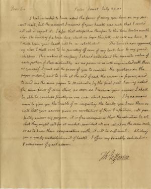 This undated photo provided by Nathan Raab shows the July 24, 1805 letter from President Thomas Jefferson to his friend and estate manager discussing the 62-year-old president's desire to have his Poplar Forest plantation appraised so he could begin parceling off portions of the property to his grandchildren. The Raab Collection in Philadelphia has set the price at $35,000 for the one-page handwritten letter, which belonged to an anonymous collector and has never been seen before by scholars or the public. (AP Photo/Courtesy Nathan Raab Collection)