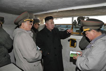 North Korean leader Kim Jong-Un talks with officers in the southwest of Pyongyang
