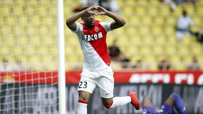 Monaco's French forward Anthony Martial celebrates after scoring a penalty during their French L1 football match against Toulouse on May 3, 2015 at the Louis II Stadium in Monaco