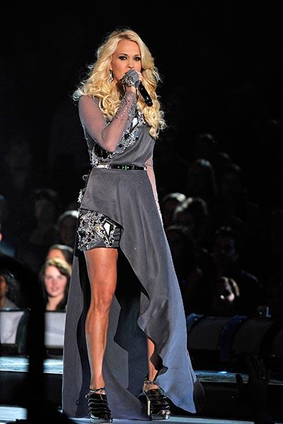 Carrie Underwood in a mixed-material gown