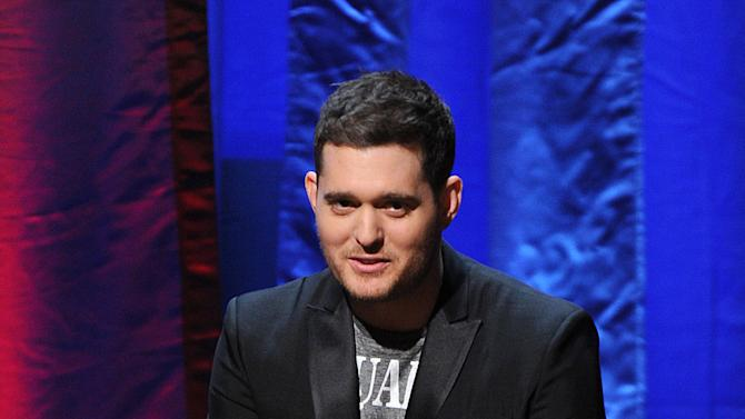 "IMAGE DISTRIBUTED FOR ACADEMY OF TELEVISION ARTS & SCIENCES - Singer Michael Buble participates in the Academy of Television Arts & Sciences Presents ""An Evening With Michael Buble"" at the Wadsworth Theatre on Sunday, April 28, 2013 in Los Angeles, California. (Photo by Frank Micelotta/Invision for the Academy of Television Arts & Sciences/AP Images)"