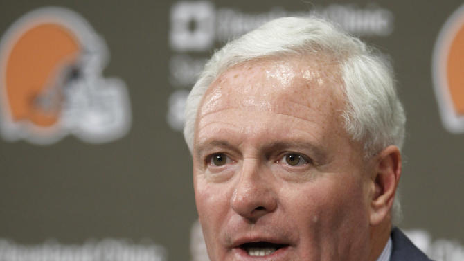 Cleveland Browns new owner Jimmy Haslam III answers questions during a news conference Wednesday, Oct. 17, 2012, in Berea, Ohio. Joe Banner was introduced Wednesday as CEO of the Browns, joining Haslam III in trying to turn around a franchise stuck in an almost continuous cycle of losing. (AP Photo/Tony Dejak)