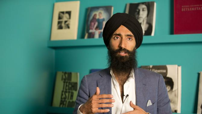Waris Ahluwalia, a member of the Sikh community, gives an interview in Mexico City, Tuesday, Feb. 9, 2016. The Indian-American actor and designer who wasn't allowed to board a Mexico City-to-New York flight after refusing to remove his turban said Tuesday that he is satisfied with an apology from the airline.  Ahluwalia said he is now waiting for Aeromexico to implement special training on how to treat Sikh passengers, for whom the headgear carries deep religious significance. (AP Photo/Eduardo Verdugo)