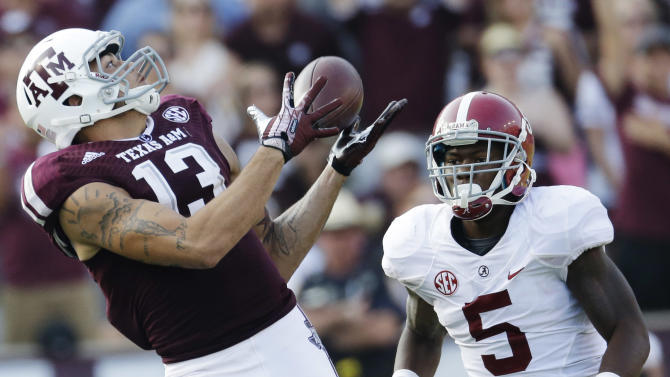 In this Sept. 14, 2013, file photo, Texas A&M wide receiver Mike Evans (13) makes a 95-yard touchdown reception as Cyrus Jones (5) looks on during the fourth quarter of an NCAA college football game in College Station, Texas. Evans is a top prospect in the upcoming NFL draft
