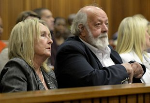 Parents of the late Reeva Steenkamp, June, left, and Barry Steenkamp, right, attend the murder trial Friday. (AP)